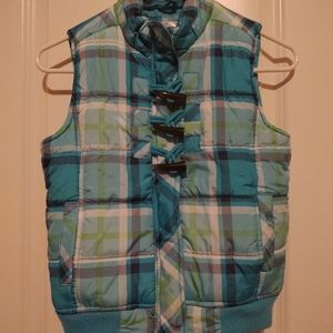 Justice Blue and Green Plaid Puffy Vest Size 12